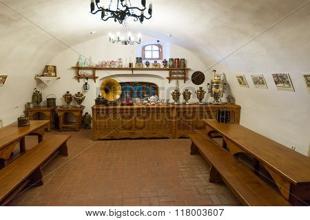 Suzdal, Russia - November 06, 2015. Museum Wooden Architecture, Interior of merchants house