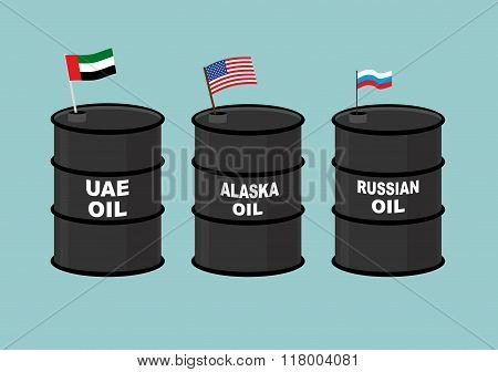 Barrels Oil. Black Barrel Of Oil And State Flag. Russian Oil. American Usa Oil. U.a.e. Oil Barrel.