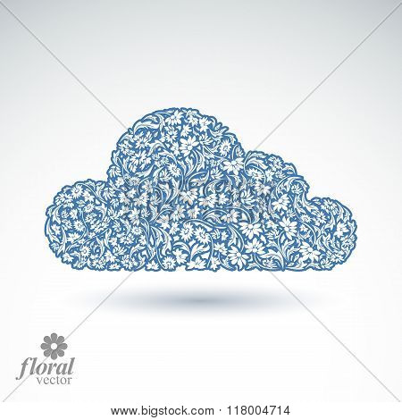 Climate Conditions Conceptual Icon, Flower-patterned Gloomy Cloud. Weather Forecast Graphic Pictogra