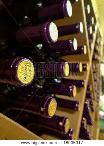 Wine bottles in rack in winery on shelf for sale