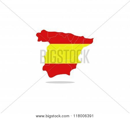 Spain map with regions illustrated and colored