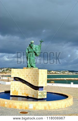 Lagos, Algarve, Portugal - October 28, 2015  Statue of the Portuguese Patron Saint of fishermen in t