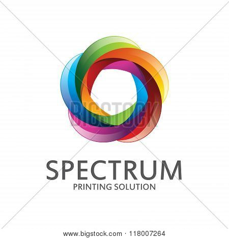 Spectrum Logo Design With Rainbow Color. Abstract Colorful Spectrum Symbol Vector.