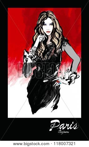 Young pretty fashion model over red background - Vector illustration