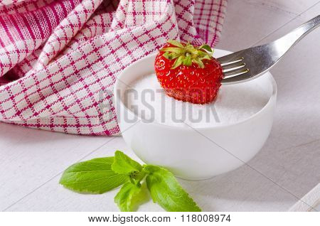 Stevia Powder And Strawberry. Natural Sweetener.