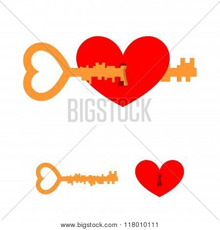 Key And Love. Key To Heart. Red Love With Lock Hole. Key Lock From Heart Of Loved One. Element For V