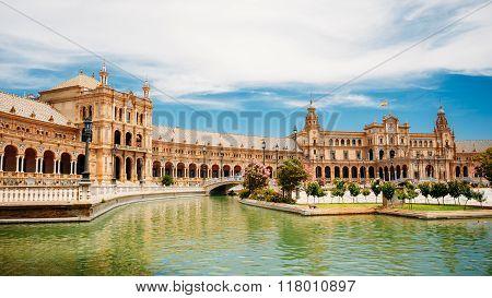 Famous landmark - Plaza de Espana in Seville, Andalusia, Spain