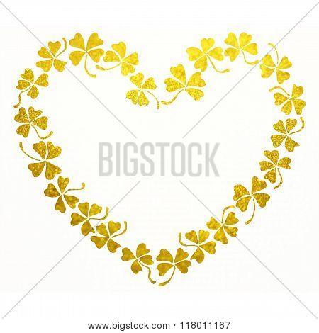 Doodle Golden Clover Shamrock Heart Line Art Isolated