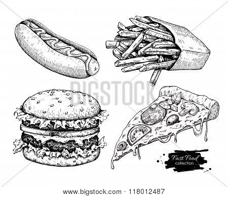 Vector Vintage Fast Food Drawing Set.