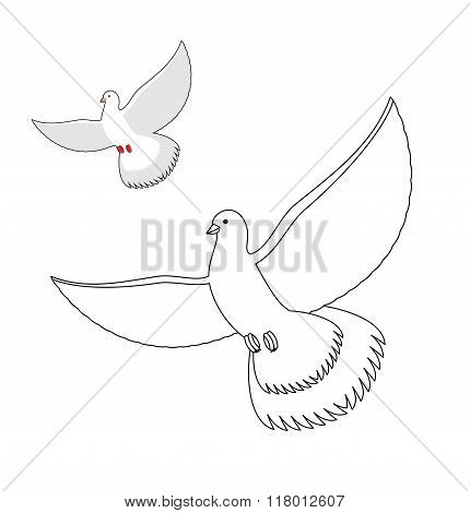 White Dove Coloring Book. Flying White Pigeon. Contour Bird Waving Wings. Childrens Coloring Book Wi