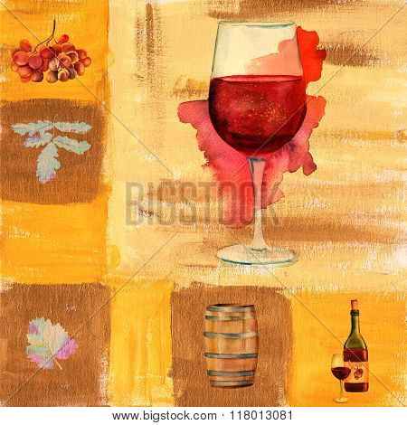 Vintage Collage With Watercolor Wine Glass, Bottle, Barrel, Grapes Etc