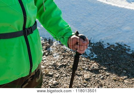 Hiker And Hiking Stick