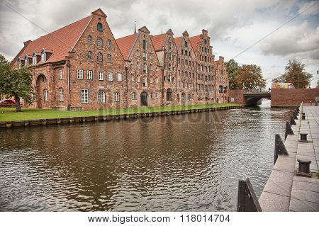 Beautiful scenery and waterways in Lubeck Germany
