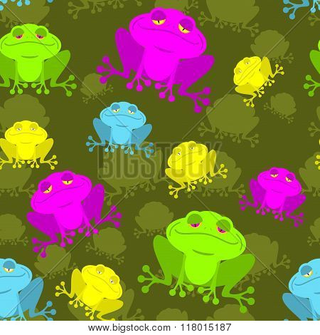 Frog Seamless Pattern. Poisonous Frog In  Bog. Background Of Reptiles. Ornament Of Amphibious Animal