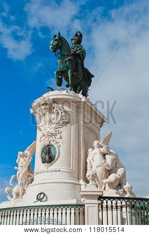 Statue Of King Jose I On The Commerce Square - Praca Do Comercio - In Lisbon, Portugal