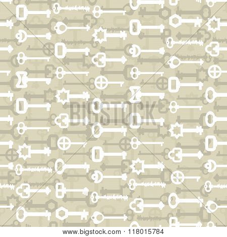 Key To Lock Seamless Pattern. Vintage Door Key Background. Retro Fabric Ornament.