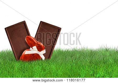 Chocolate bunny and Chocolate bars on grass on white background