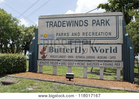 Tradewinds Park Butterfly World Sign