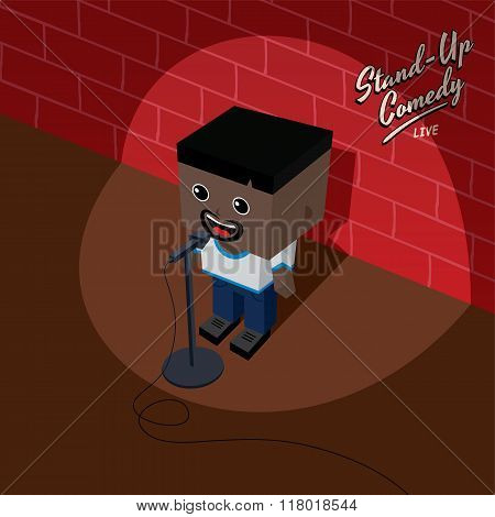 Stand Up Comedy Isometric Block Cartoon