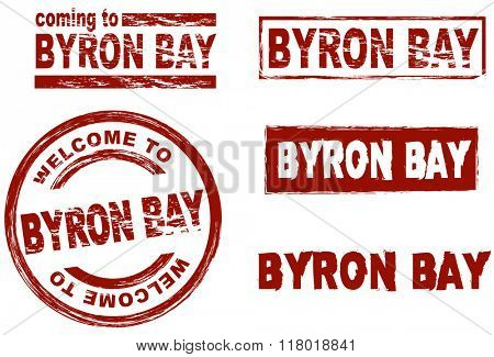 Set of stylized ink stamps showing the city of Byron Bay