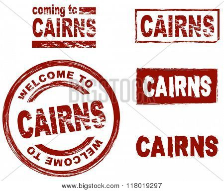 Set of stylized ink stamps showing the city of Cairns