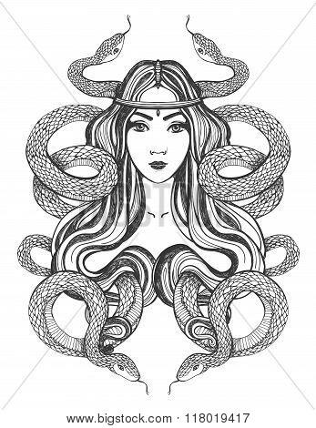 Woman with snakes. Tattoo art, coloring books.