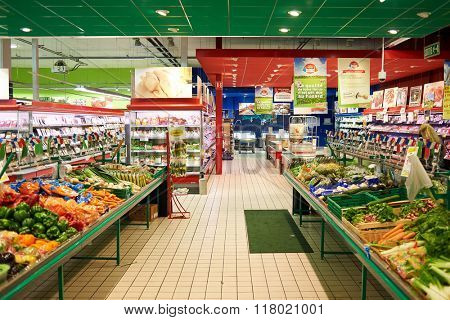 BEGLES, FRANCE - AUGUST 13, 2015: interior of Simply Market supermarket interior. Simply Market is a brand of French supermarkets. This brand is a new concept to eventually replace Atac supermarkets