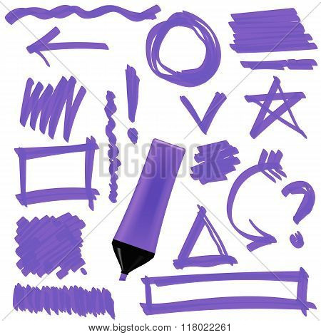 Purple Marker. Set of Graphic Signs. Arrows