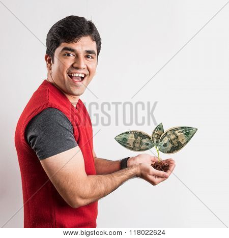 man surprised to see money or dollar grown on tree, brown man with money plant, young man with money