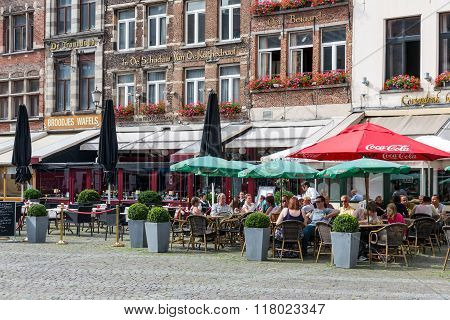 Relaxing People At Terraces Downtown In The City Antwerp, Belgium
