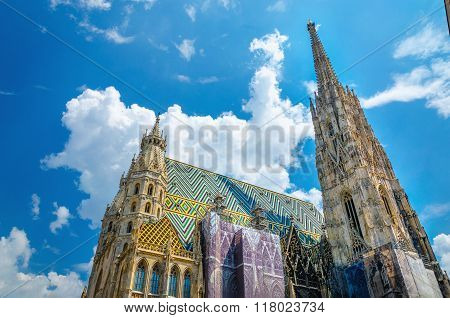 Amazing colorful St. Stephen's Cathedral  the mother church of the Roman Catholic Archdiocese of Vienna and the seat of the Archbishop of Vienna