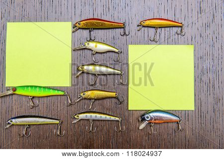 Note Paper Hanging From A Fishing Hook