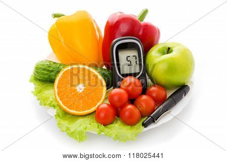 glucometer for glucose level and healthy organic food