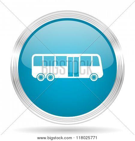 bus blue glossy metallic circle modern web icon on white background