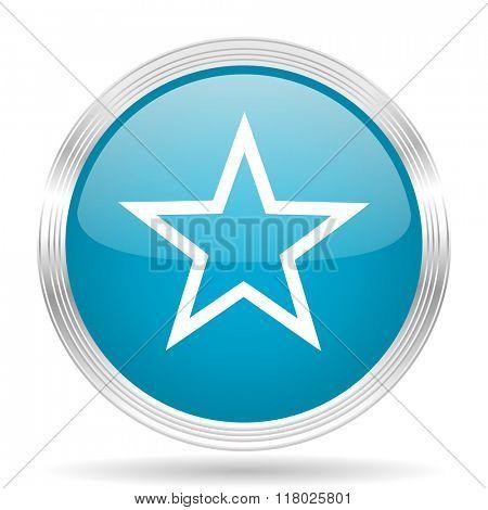 star blue glossy metallic circle modern web icon on white background