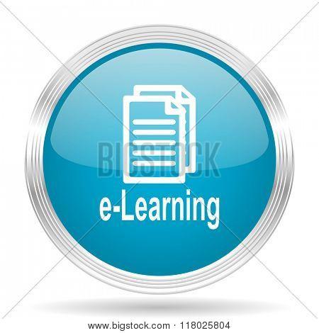 learning blue glossy metallic circle modern web icon on white background