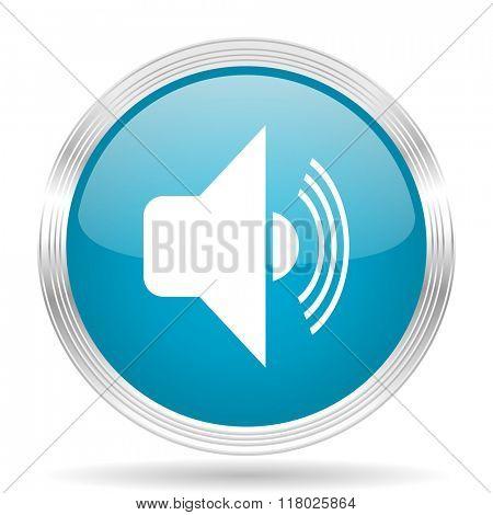 volume blue glossy metallic circle modern web icon on white background