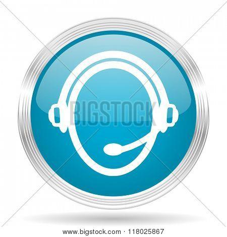 customer service blue glossy metallic circle modern web icon on white background