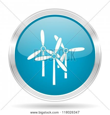 windmill blue glossy metallic circle modern web icon on white background