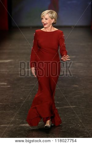 NEW YORK-FEB 11: Florence Henderson wears Pamella Roland at Go Red for Women Red Dress Collection 2016 Presented by Macy's at New York Fashion Week on February 11, 201 in New York City.