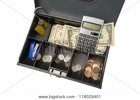 Cash Box Ready For Garage Rummage Yard Sale Business