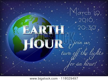 Card For Earth Hour - Global Annual International Event