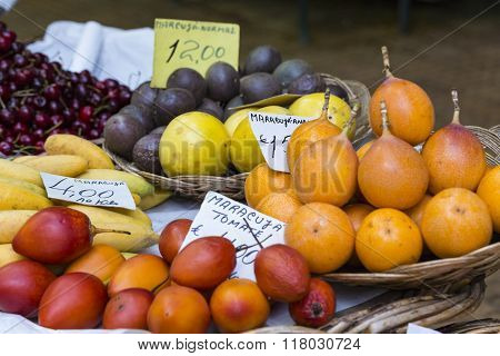 Fresh Exotic Fruits In Mercado Dos Lavradores. Funchal, Madeira