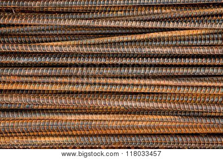 Metal texture pattern of rusty rebars for background
