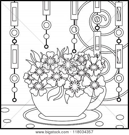 Tea Background With Cup And Flowers. Pattern For Menu, Wallpaper, Coloring Books For Kids And Adults