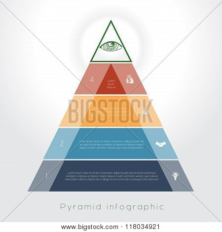 Template Infographic Pyramid For Four Text Area