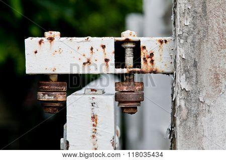 Steel wheel old Rust door at home