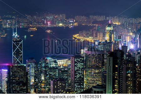 Night aerial view panorama of Hong Kong skyline