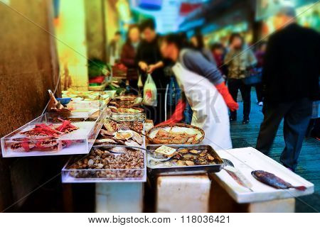 Seafood On Traditional Asian Street Market. Hong Kong