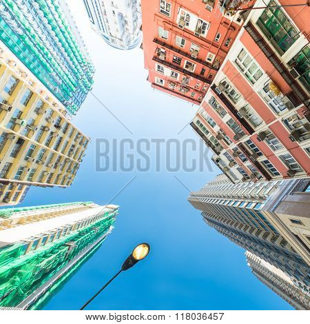 Abstract Futuristic Cityscape View. Hong Kong